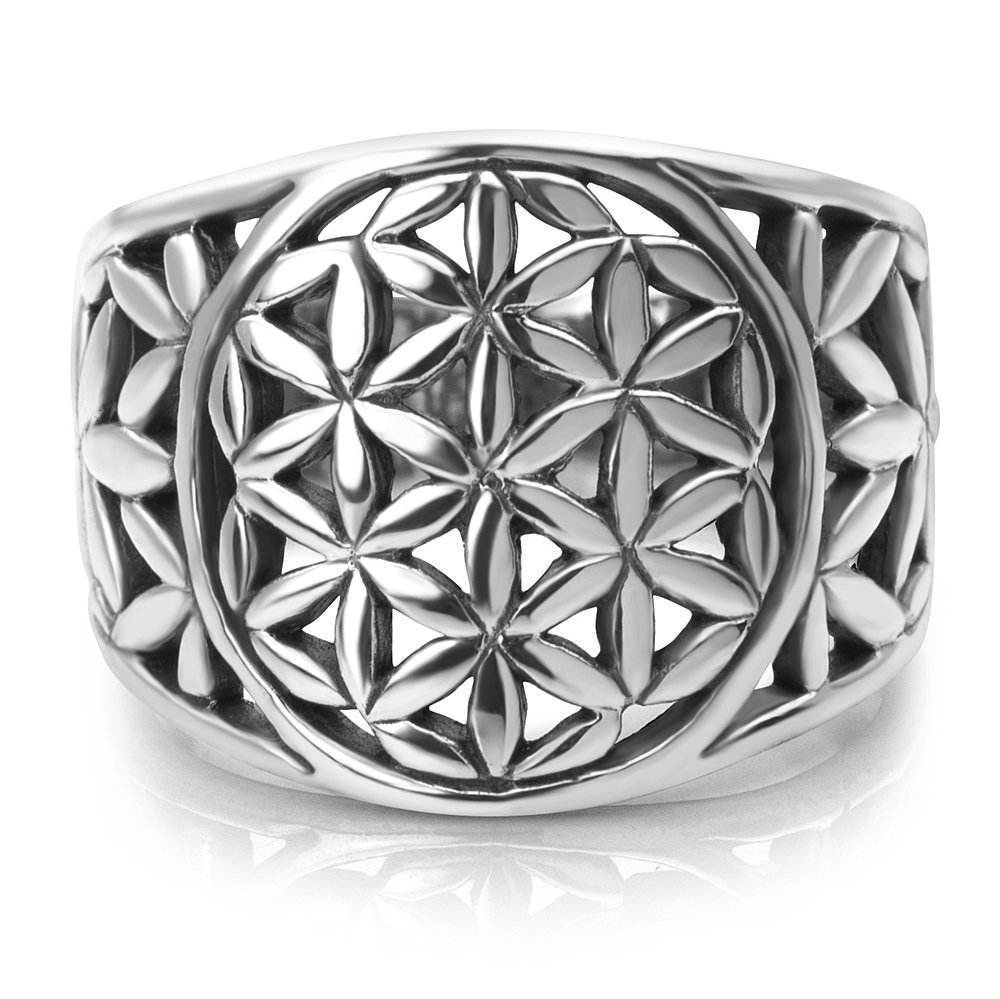 Chuvora 925 Sterling Silver Detailed Flower of Life Symbol Mandala Filigree Large Band Ring Size 9 by Chuvora