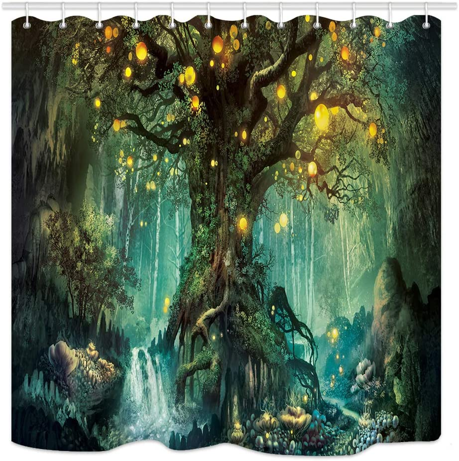 Forest Fairy Tales Shower Curtain, Lanterns and Waterfalls Under Fantasy Large Tree Bohemian, Waterproof Fabric Bathroom Decor, 69X70IN Bath Curtains Accessories with 12pcs Hooks