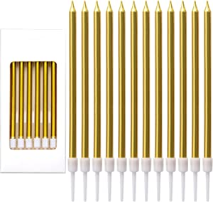 LUTER Metallic Birthday Candles in Holders Tall Birthday Cake Candles Long Thin Cupcake Candles for Birthday Wedding Party Decoration(24 Pieces) (Gold)