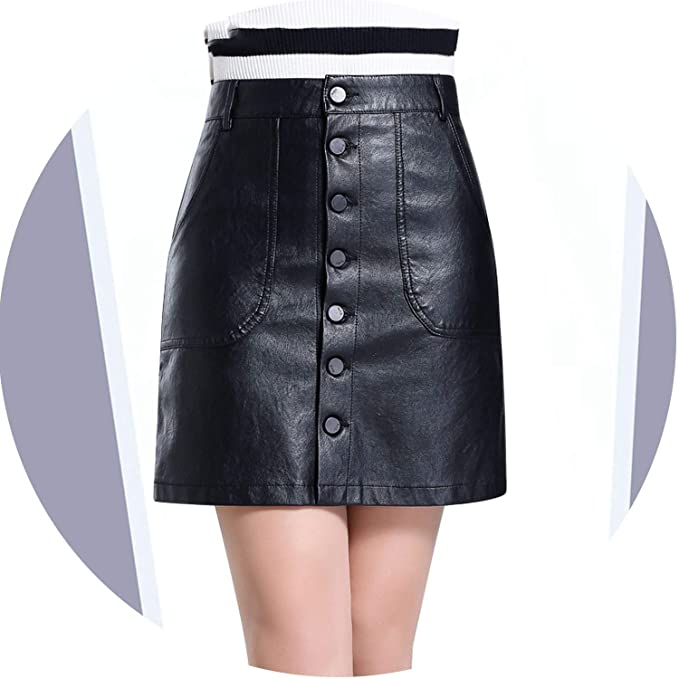 novel style hot-selling authentic purchase authentic High Waist Leather Skirt 2019 Fall Winter PU Pockets Button ...