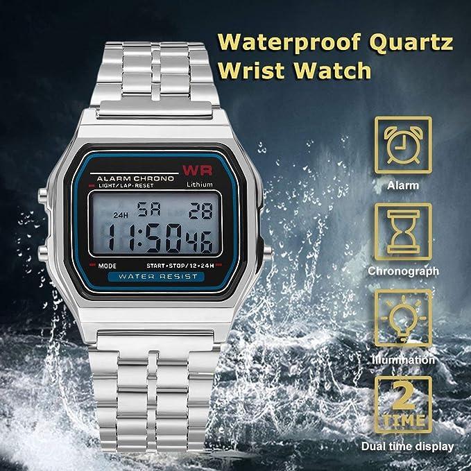 Reloj del reloj del reloj de la alarma de la correa del acero inoxidable del reloj de la vendimia de Digitaces de la manera Vestido Reloj de pulsera del ...