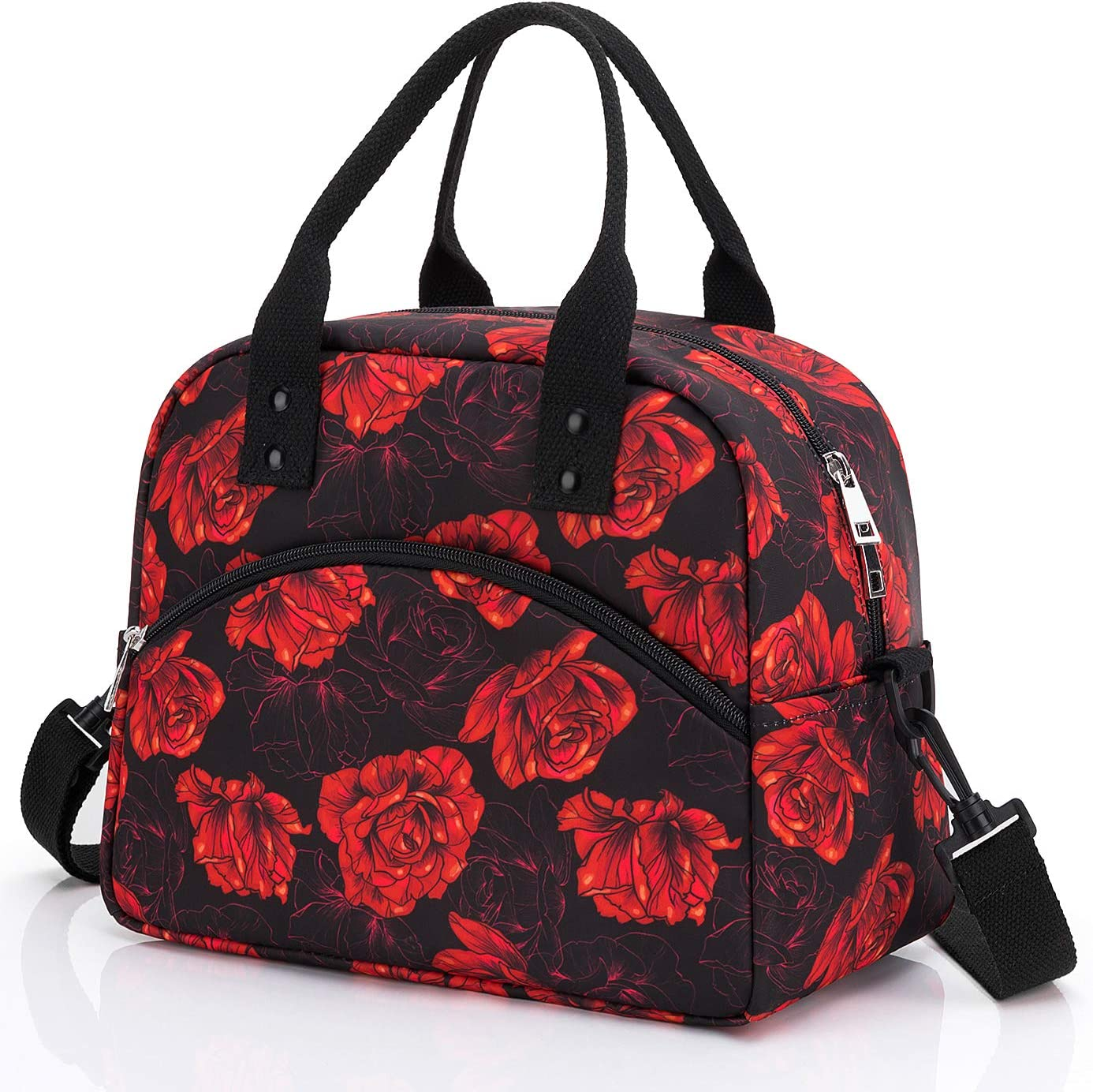 Insulated Lunch Bag with Detachable Shoulder Strap & Carry Handle,Leak Proof Reusable Lunch bag, Eco-friendly Cooler Bag Tote Bag,School Lunch Box for Kids,Men,Women(Red Rose)