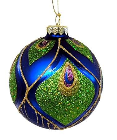december diamonds blown glass peacock design christmas ornament - Peacock Blue Christmas Decorations