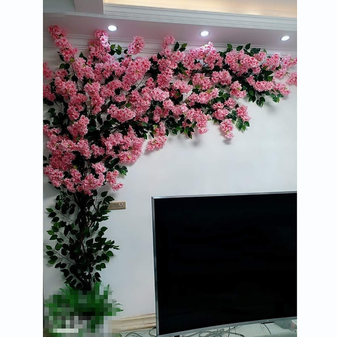 LHKAVE Rose Red Artificial Flower Cherry Blossom Tree Fake Vines ...