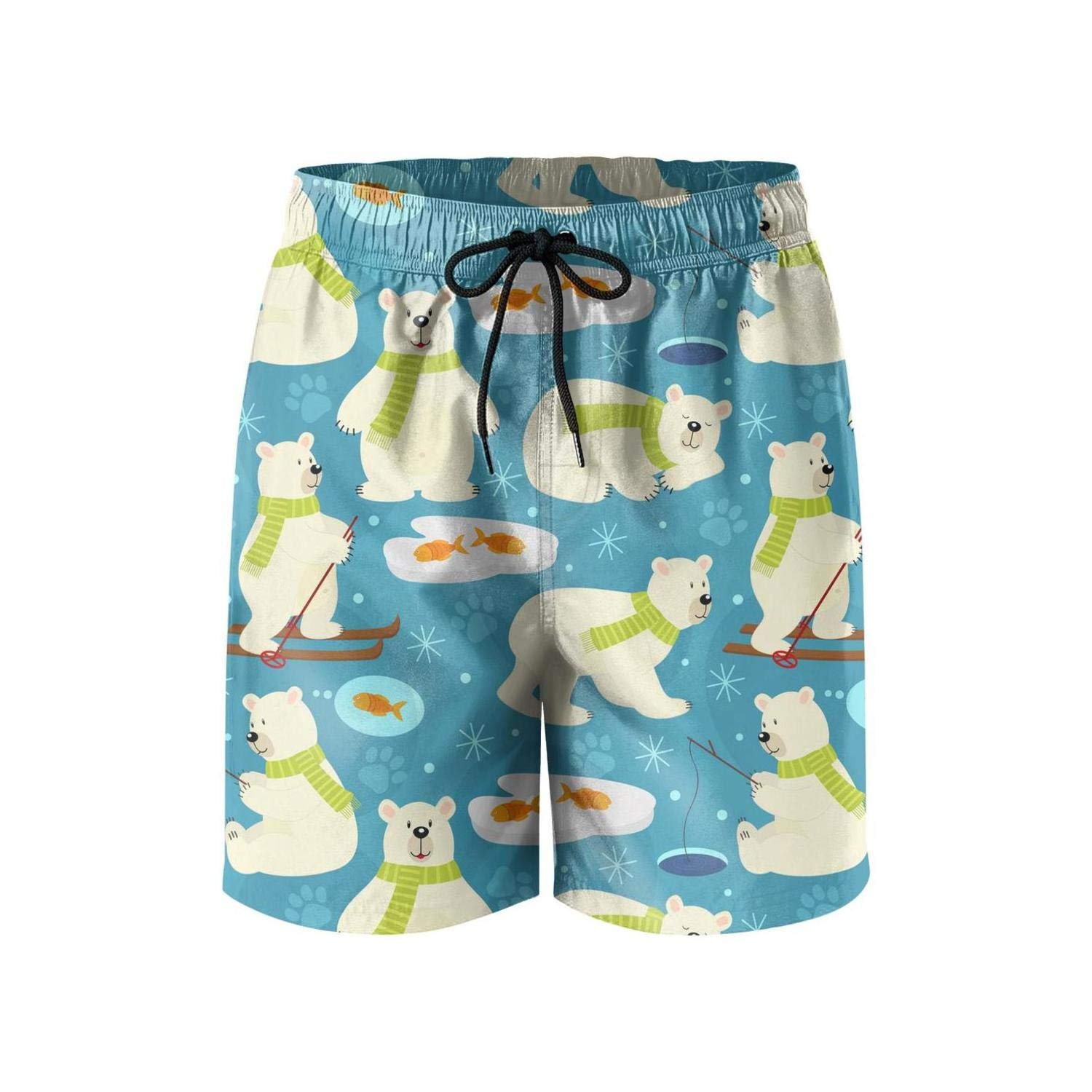 Men Sporty Printed Absorbent Swimming Trunks Short-Navy Anchors Pattern Style Beach Shorts