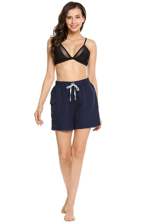 Zeagoo Women's Elastic Waist Jersey Short with Side Pockets cute shortswomen
