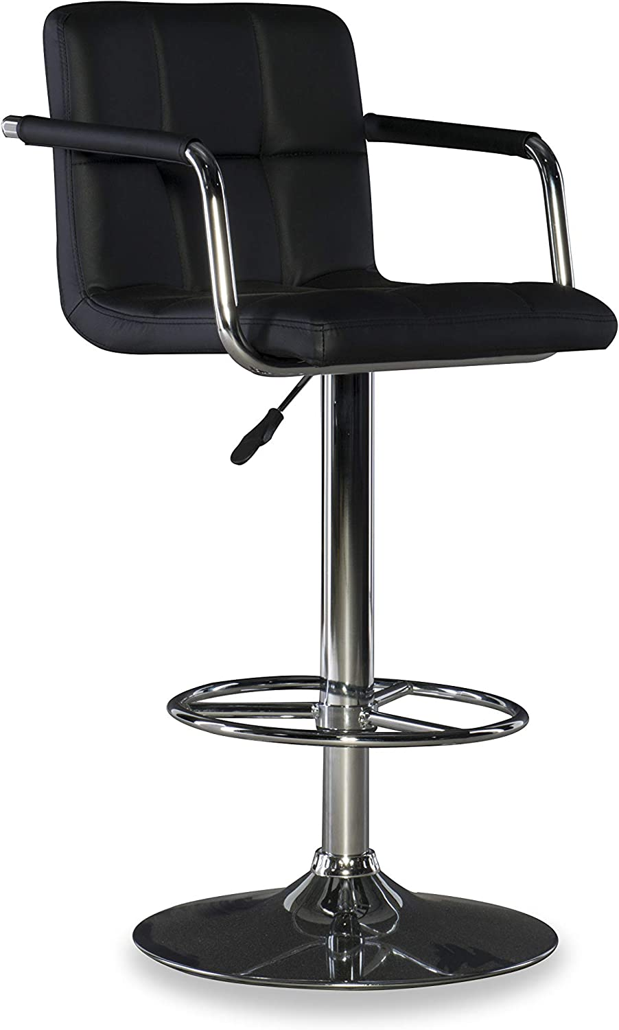 Powell Furniture Powell Quilted Barstool, Black/Chrome