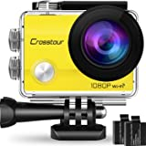 """Crosstour Action Camera Underwater Cam WiFi 1080P Full HD 12MP Waterproof 30m 2"""" LCD 170 degree Wide-angle Sports Camera with 2 Rechargeable 1050mAh Batteries and Mounting Accessory Kits (Yellow))"""