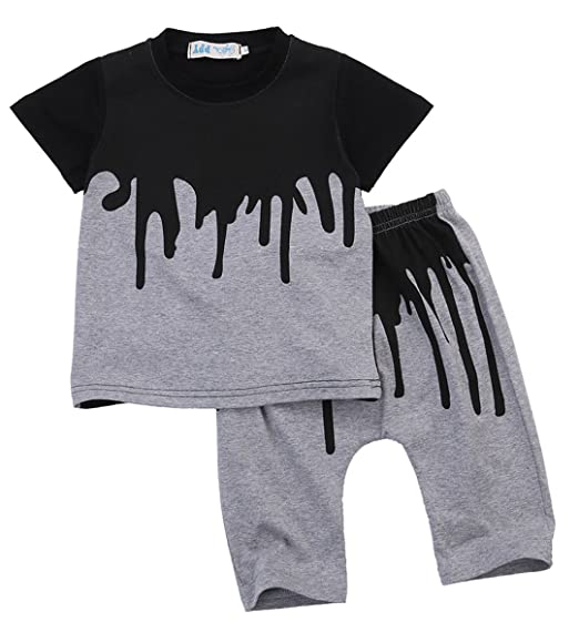 3ff35d8eaa1f Amazon.com  Baby Boys Outfits Gray Clothes T-Shirt Tops+Pants 2PCS ...