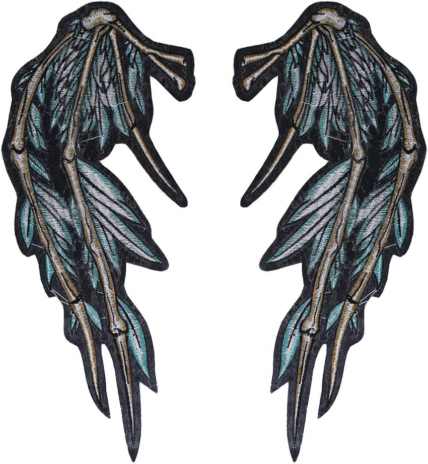 EMDOMO Embroidery Wings Patches Clothes Badge Iron on Punk Biker Fabric Applique Garment Accessories 1pairs TH1726