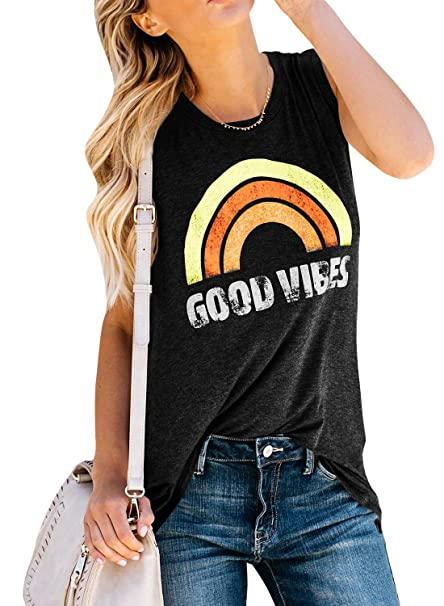 da6c07358cc8f Amazon.com  Plus Size Womens Good Vibes Tank Tops Summer Sleeveless T Shirts  Crew Neck Rainbow Graphic Casual Loose Tees  Clothing