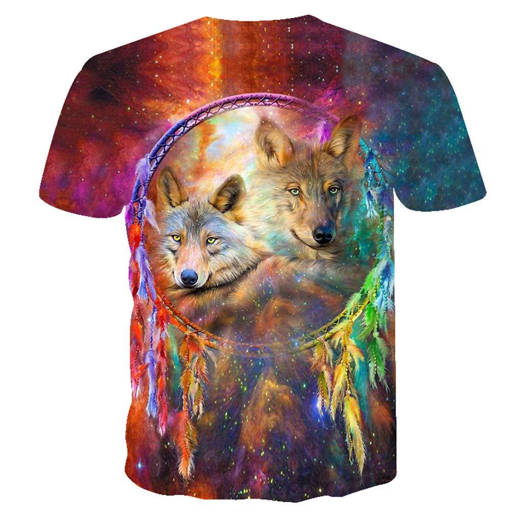 Bsrale Camiseta De Los Hombres Camiseta De La Guerra Ropa De Las Camisetas Tops Hombres 3D Cielo Estrellado Camiseta De Lobo Fluorescente Camiseta Fresca