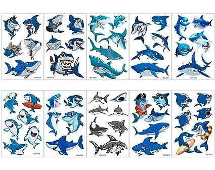 Biubee 30 Sheets Shark Temporary Tattoos 162 Pcs 54 Different Patterns Waterproof Ocean Shark Tattoo Body Stickers For Boy Girls Ocean Sea Themed
