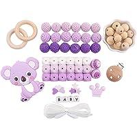 baby tete Accesorios para la Dentición del Bebé Colgante de Koala de Silicona Bricolaje y Manualidades Cuentas de Ganchillo Grado de Comida Clips Ficticios