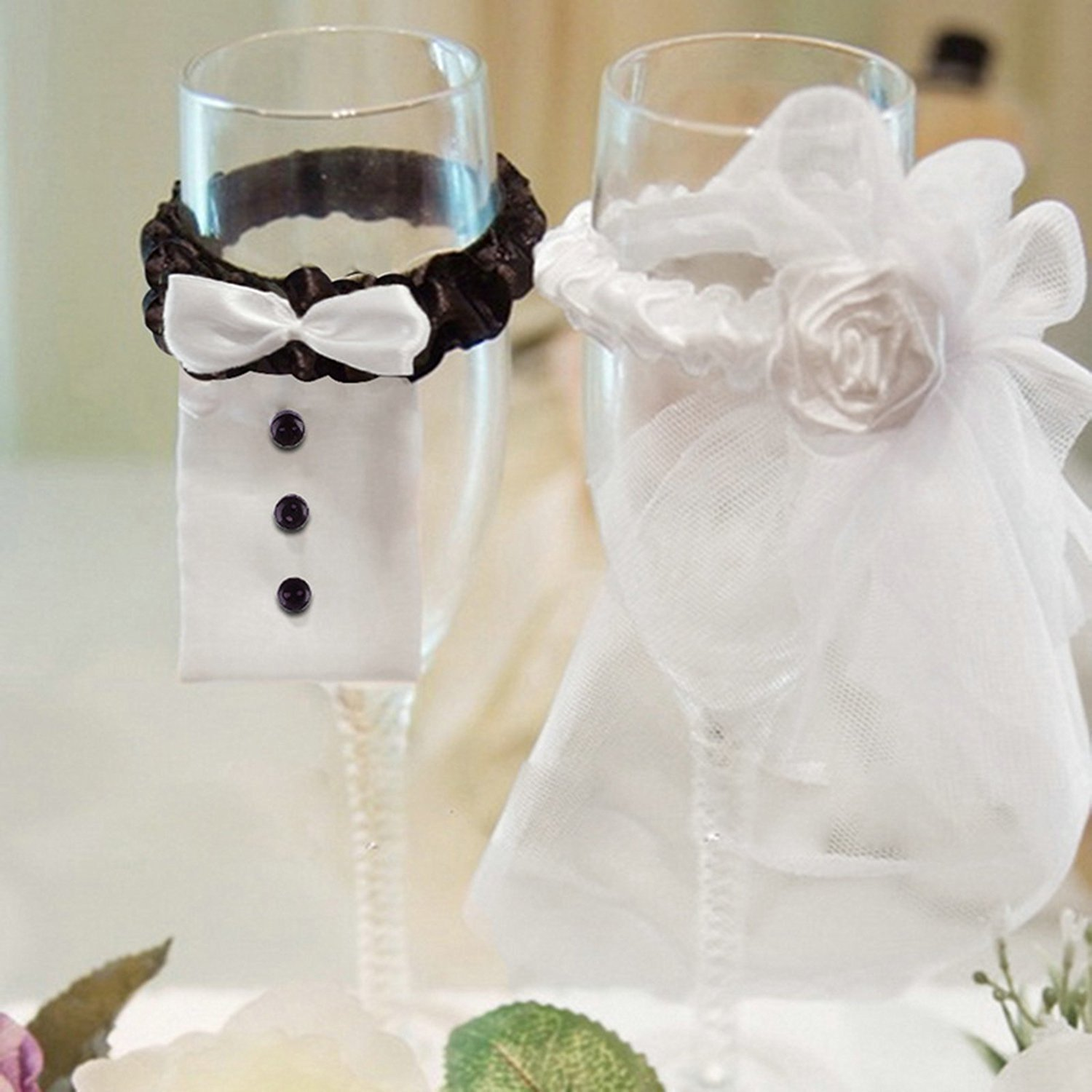 Fashionclubs Wedding Party Wine Glasses Tosting Lace Cover For Table Decoration Bridegroom And Bride Type