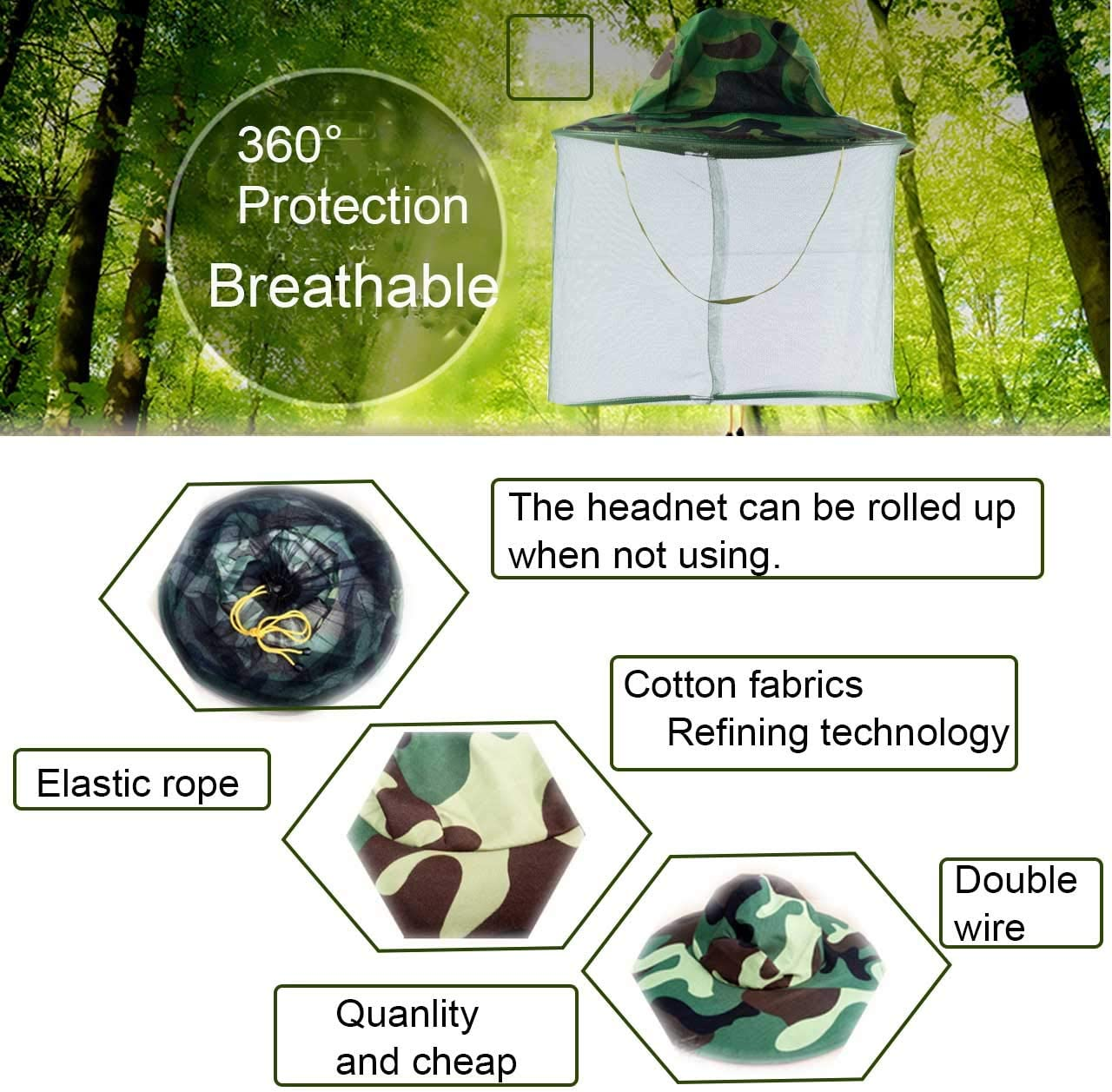 HunterBee 2 PCS Round Beekeeping Beekeepers hat with Veil net Netting//mosquito netting hat