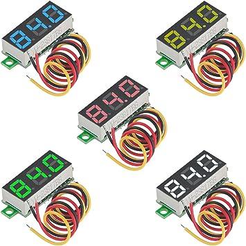 "DC 0-30V dos Alambre Rojo precisión Mini LED voltímetro digital coche 0.36/"" 12V 24V"