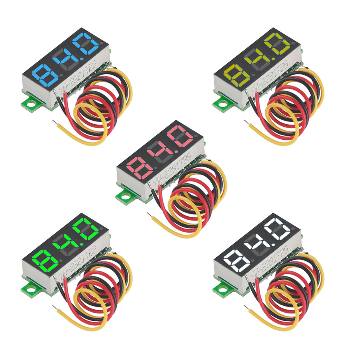 MakerFocus 5pcs Mini Digital Voltmeter DC 0.28 Inch Three-Line DC 0-100V Mini Digital Voltmeter Gauge Tester LED Display Reverse Polarity Protection and Accurate Pressure Measurement 5 Colours by MakerFocus (Image #1)