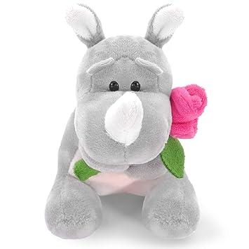 Lazada Plush Rhino Peluche de Juguete con Rose Holding 12cm - Novia / Novio Regalos románticos