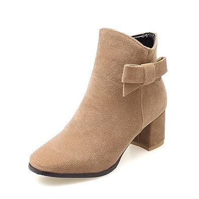 Women's Buckle Kitten-Heels Imitated Suede Solid Low-Top Boots