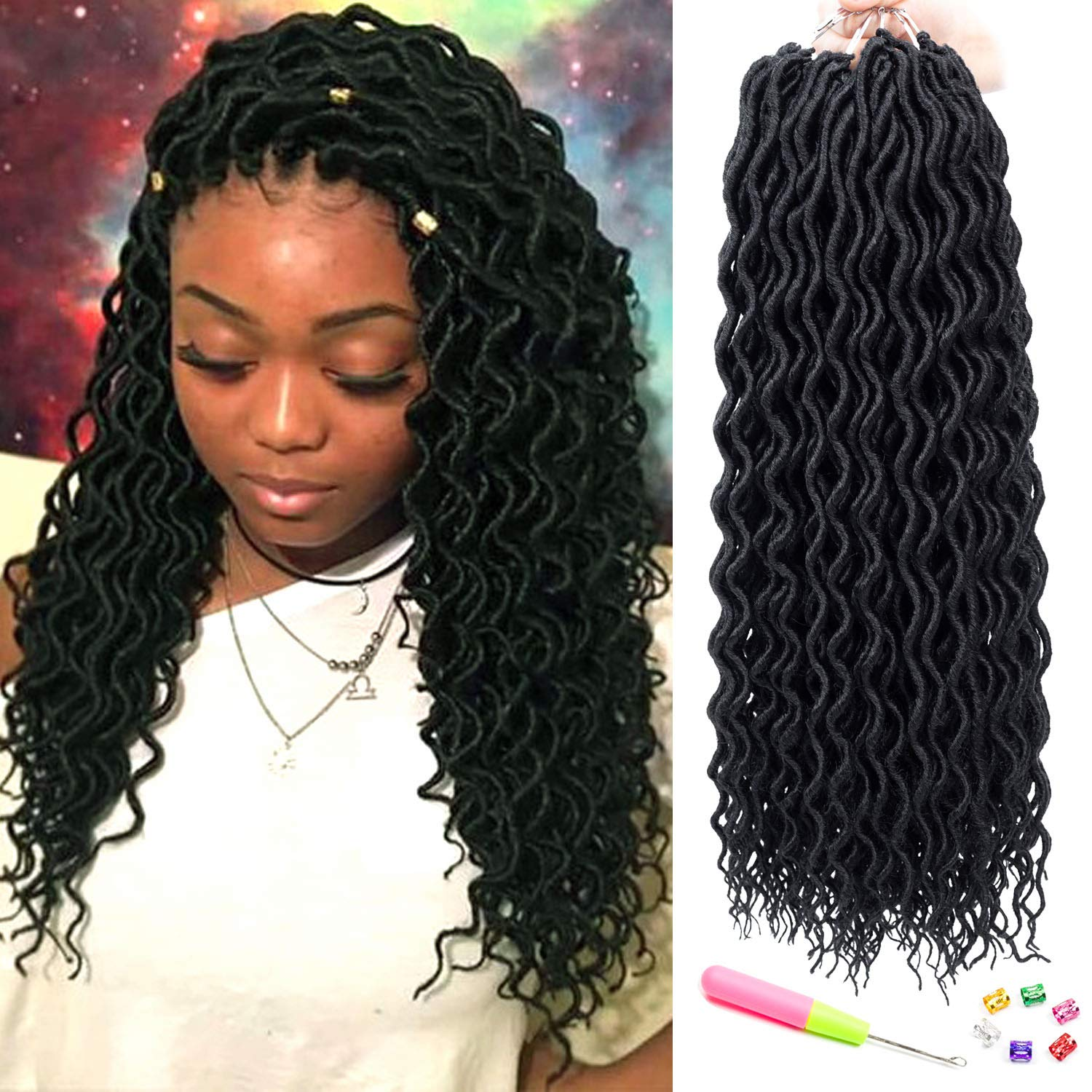 Amazoncom 6 Packs Faux Locs Goddess Locs Crochet Hair Ombre Curly