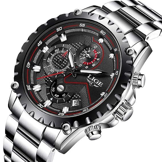 LIGE Relojes Hombres Acero Inoxidable Impermeable 30M Deportes Reloj De Cuarzo  Analógico Moda Fecha Negocios Reloj Clásico Negro Hombres  Amazon.es   Relojes 6479a5bf3115