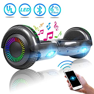 "UNI-SUN Bluetooth Hoverboard for Kids, 6.5"" Two-Wheel Self Balancing Hoverboard with Bluetooth and LED Lights, Electric Scooter for Adult with UL 2272 Certified and Carry Bag(Carbon Black): Sports & Outdoors"