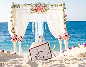 109df19bb1 AOFOTO 10x8ft Romantic Beach Wedding Archway Backdrop Tropical Outdoor  Marriage Reception Photography Background Newlyweds Honeymoon Photo