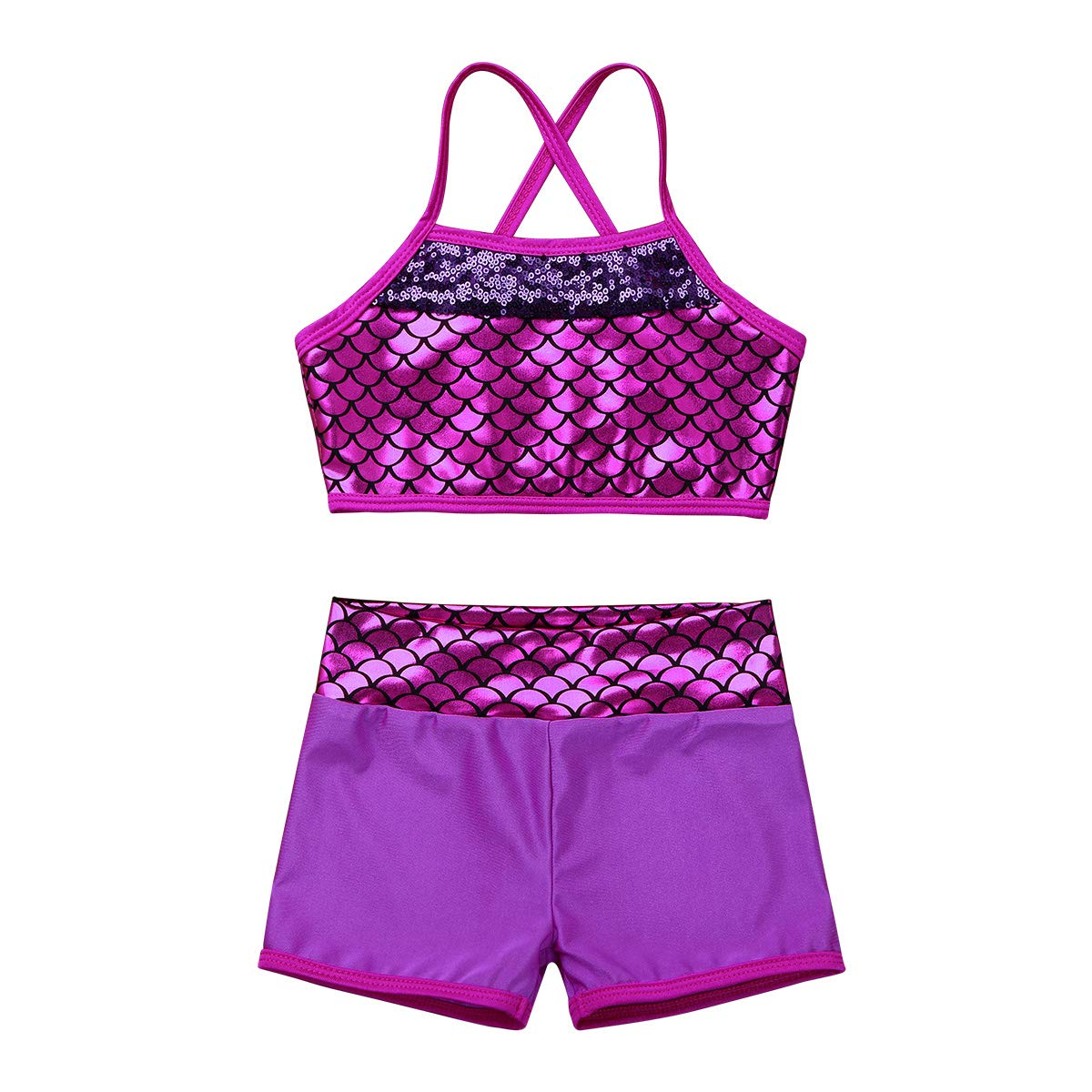 ACSUSS Girls 2PCS Sequins Mermaid Tankini Crop Top Bra with Booty Shorts Ballet Dance Wear