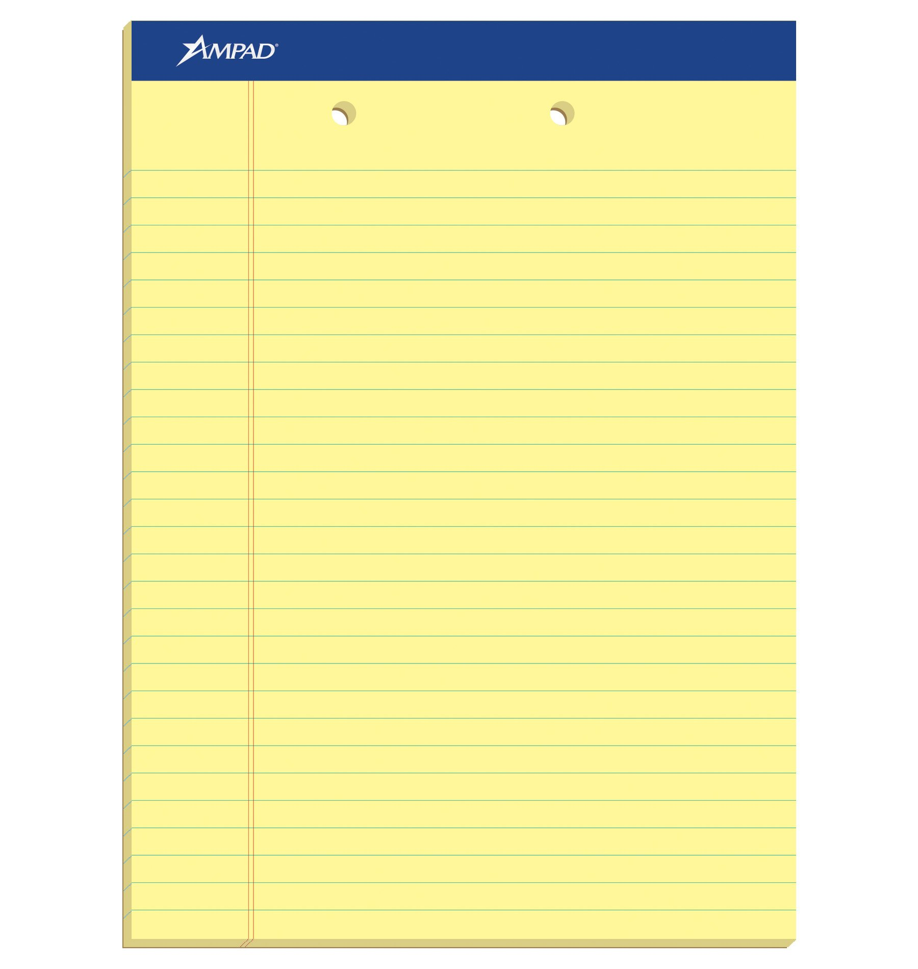 Ampad Evidence Perforated Pad,Size  8-1/2 x 11-3/4, Canary Yellow Paper , Legal Ruling , 50 Sheets per Pad, 2 Hole Punched, Pack of 12 (20-224)