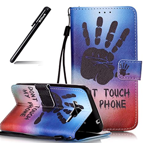 BtDuck PU Leder Tasche Flip Case Schwarz Handabdrücke Muster Brieftasche Magnet Strap Schutzhülle Kompatibel mit Samsung Gala