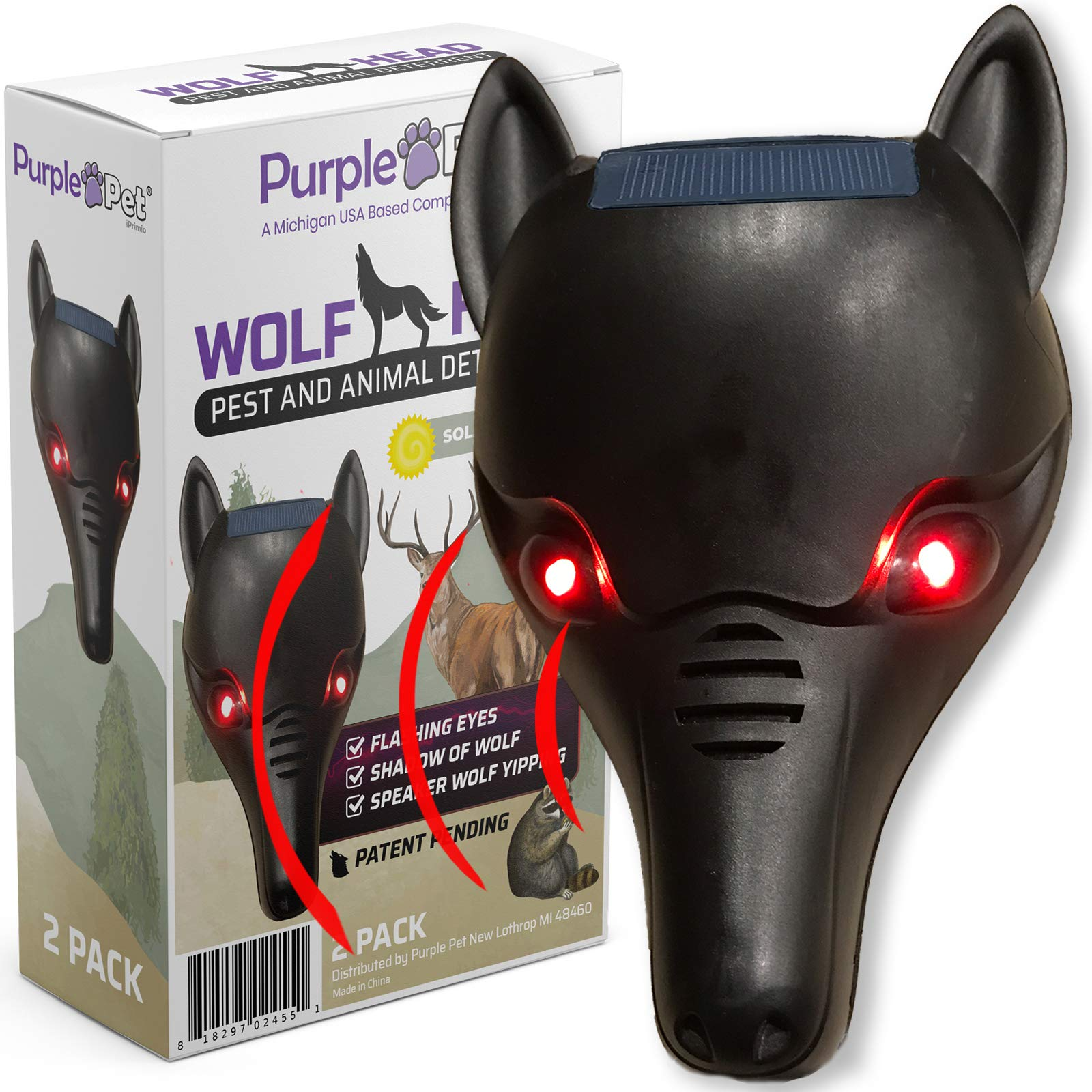 purple pet iprimio Wolf Head with Coyote Yipping and Lighted Eyes - Pest Deterrent (2 Pack)