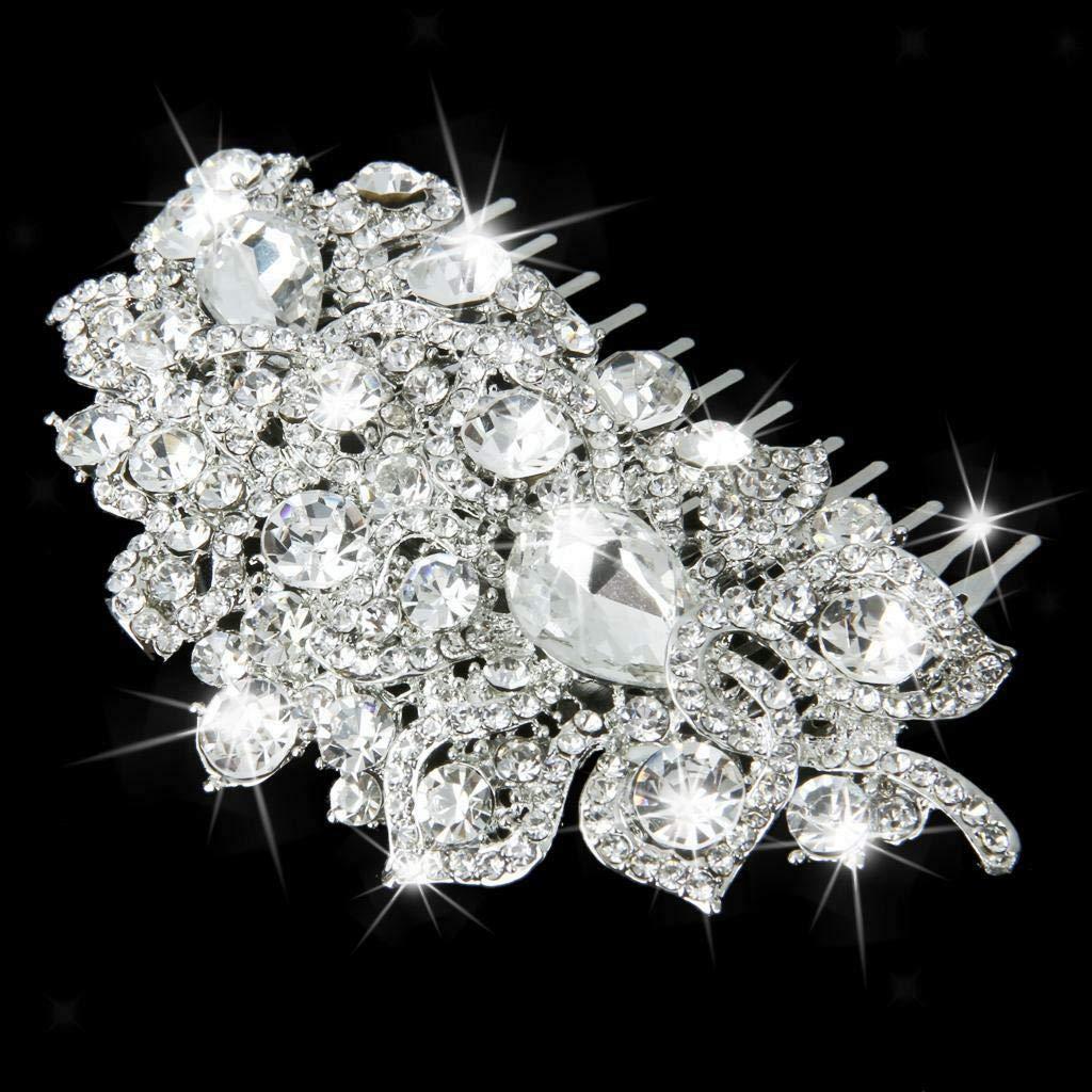BEAUTIFUL SILVER FAUX PEARL FLOWER BROOCH DIAMANTE CRYSTAL WEDDING BRIDAL