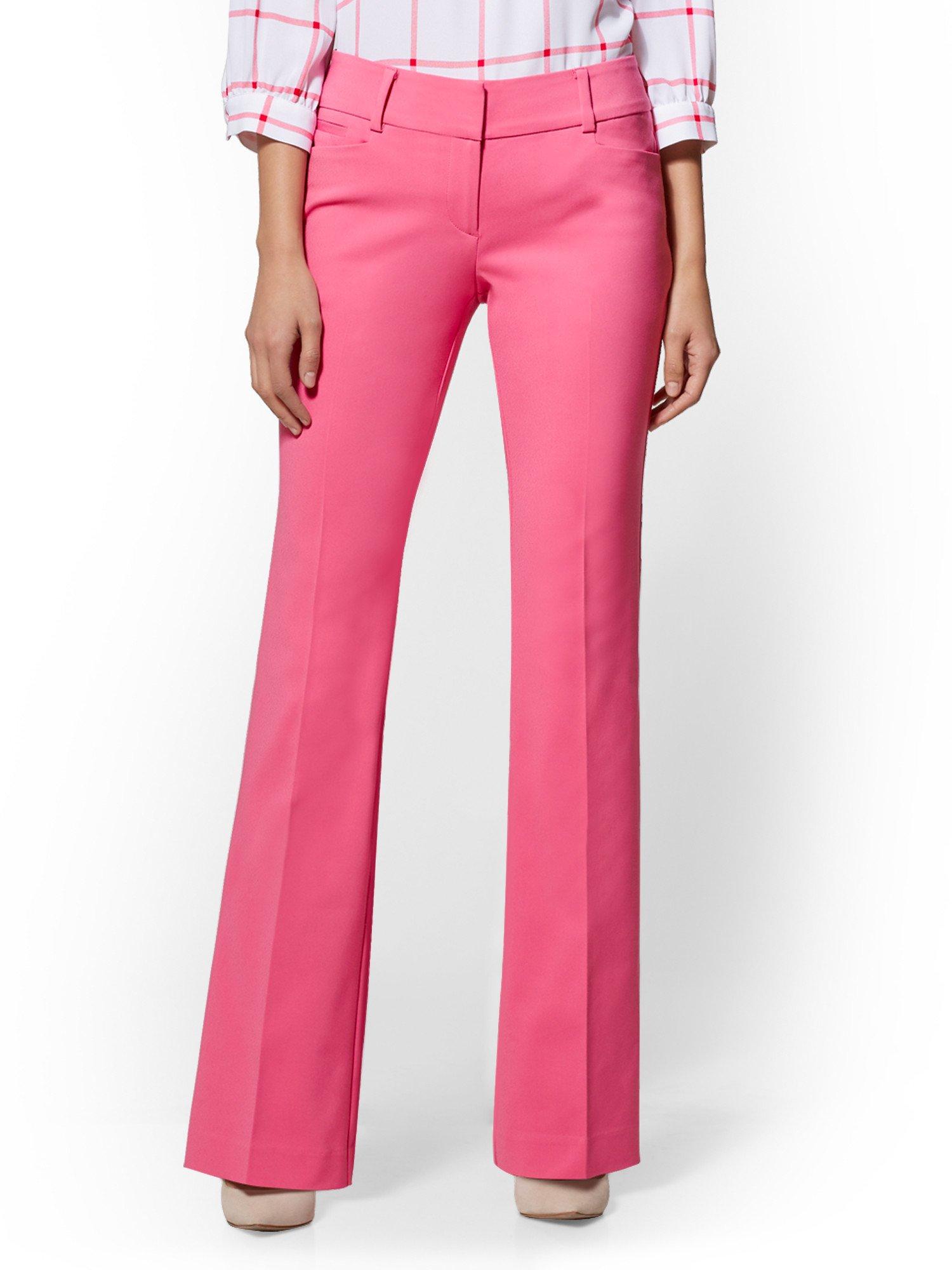 New York & Co. 7Th Avenue Petite Pant - Straight Leg 8 Pink Flamingo