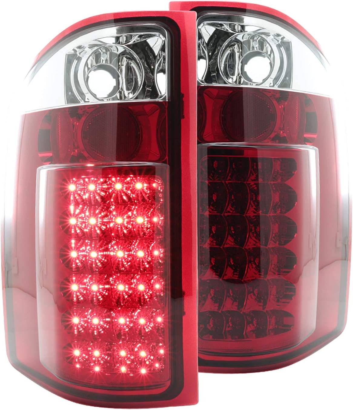 For 2007-2014 Chevy Silverado 1500 Red LED C-Tube Tail Brake Light Lamps Chrome