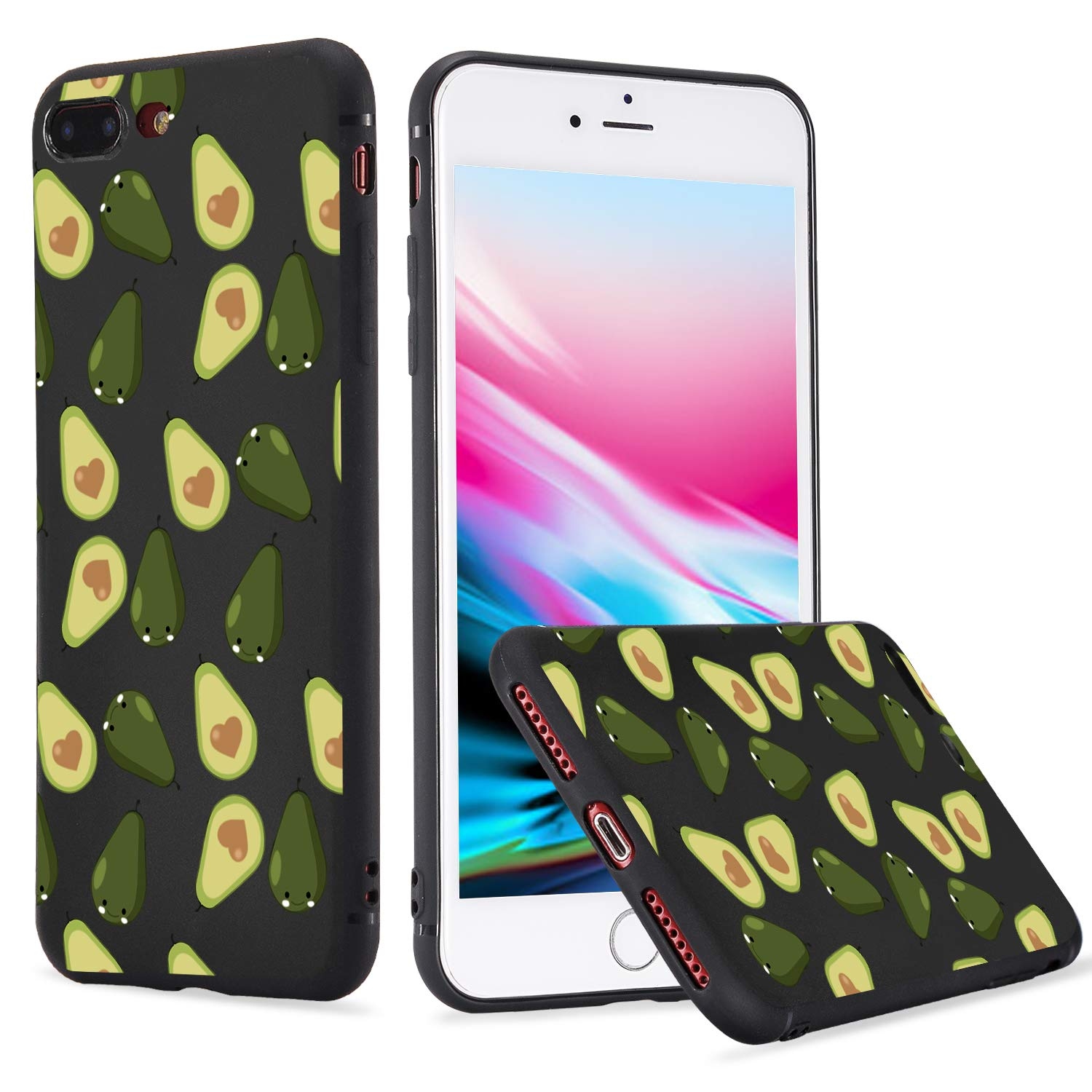 LuGeKe Fruit Avocado Print Phone Case for iPhone XR Quality Flexible Pear Pattern Black Cover Case Durable and Comfortable by LuGeKe