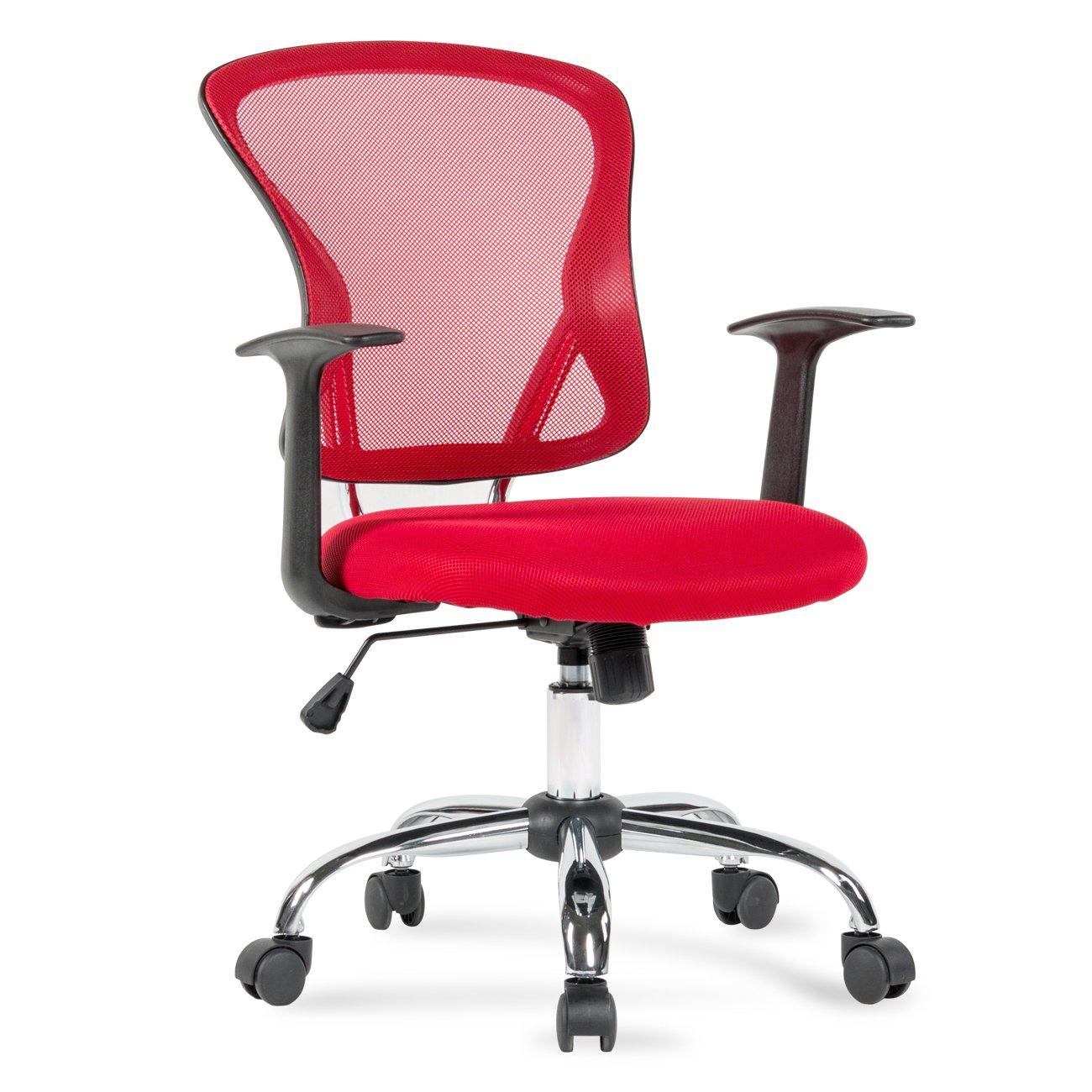 Belleze Desk Office Chair Mid Back Mesh Ergonomic Computer Task Midback Adjustable Seat, Red