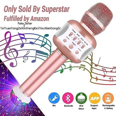Leeron Microfono Karaoke Bluetooth con Altoparlante Microfono Wireless  Karaoke Bambini batteria AUX Portatile 4.1 wireless Karaoke f1d6cba04922