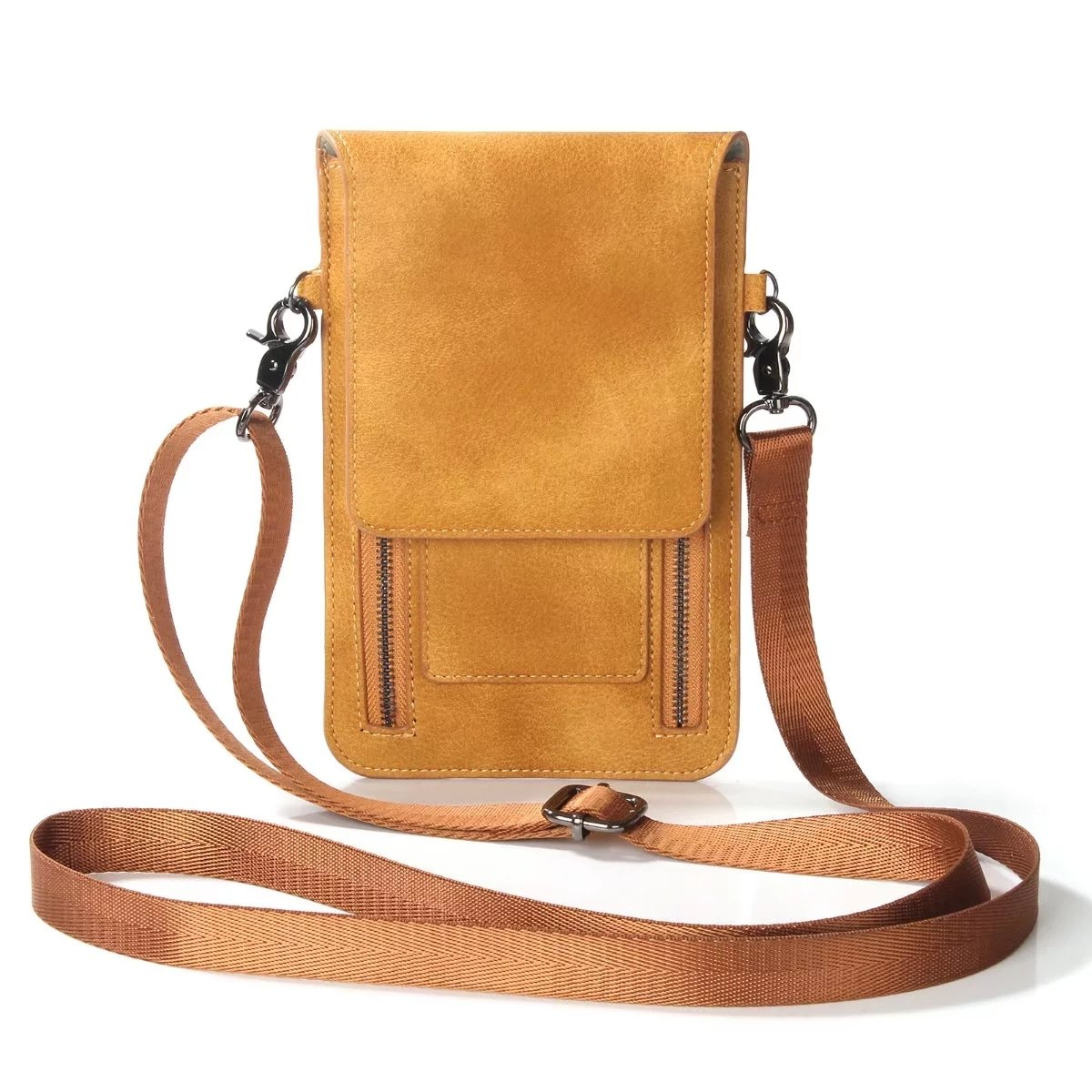 ATOOZ Luxury PU Leather Small Crossbody Bag Wallet Purse Single Shoulder Cellphone Pouch for Women Girls (Brown)