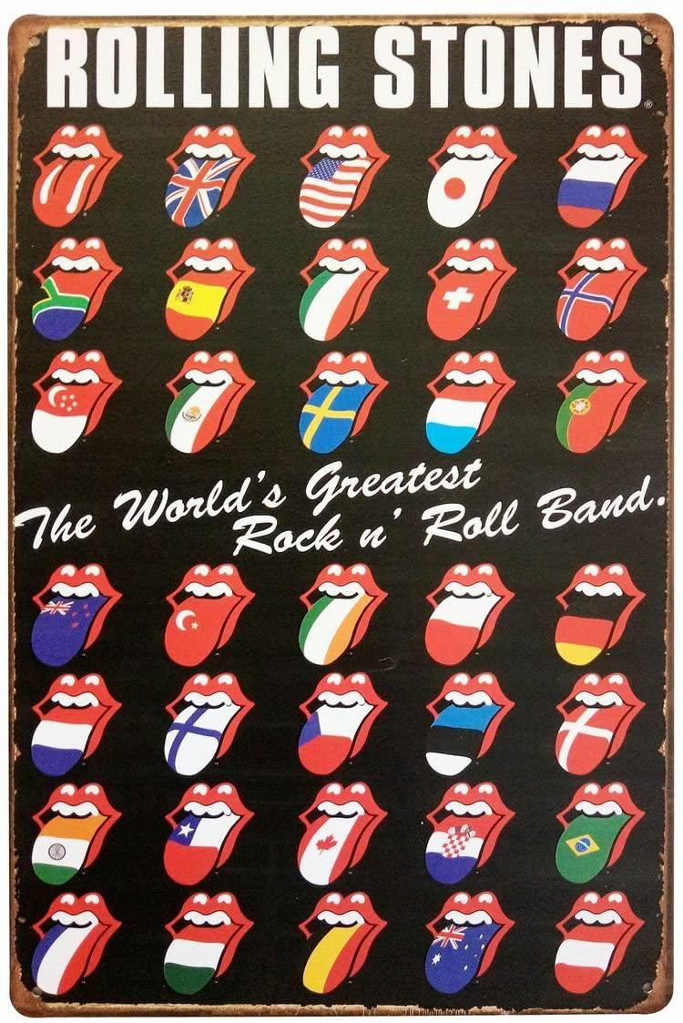 ERLOOD Rolling Stones Tin Sign Wall Retro Metal Bar Pub Poster Metal 12 X 8