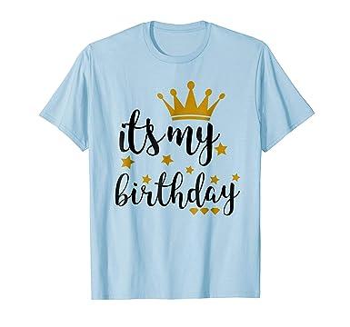 Mens Its My Birthday Shirt For Women Teens Girls Black Gold 2XL