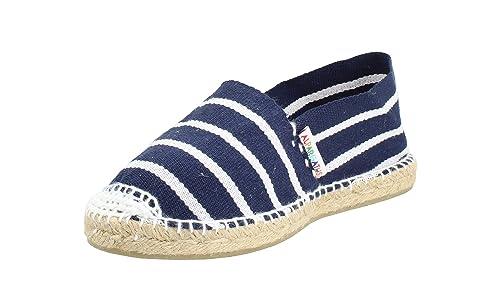 Alpargata Plana Rayas 48 Marino Blanco Mujer: Amazon.es: Zapatos y complementos