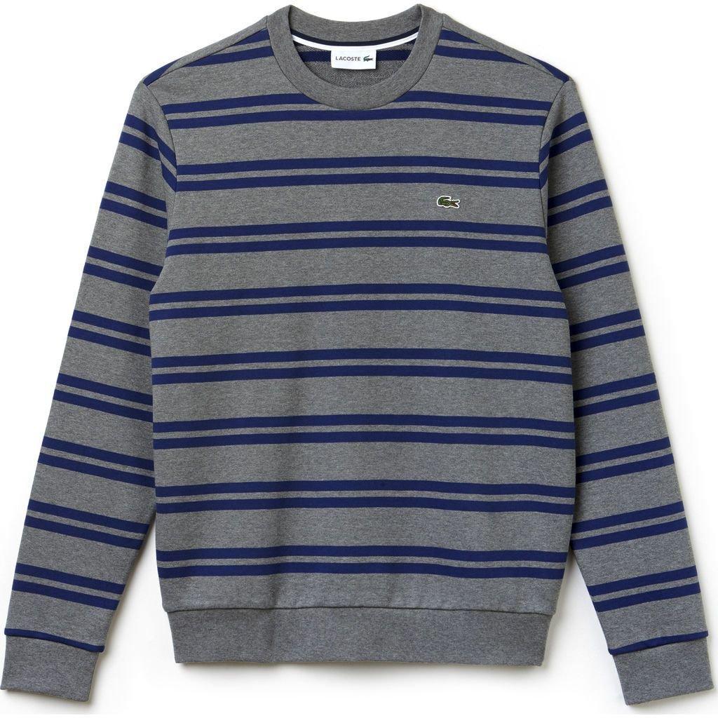 Lacoste Men's Non Brushed Fleece Striped Sweatshirt, Galaxite Chine/Methylene, 5