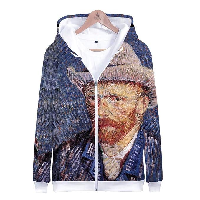 MANSPYF Felpa con Cappuccio,Van Gogh, Felpa con Cappuccio da
