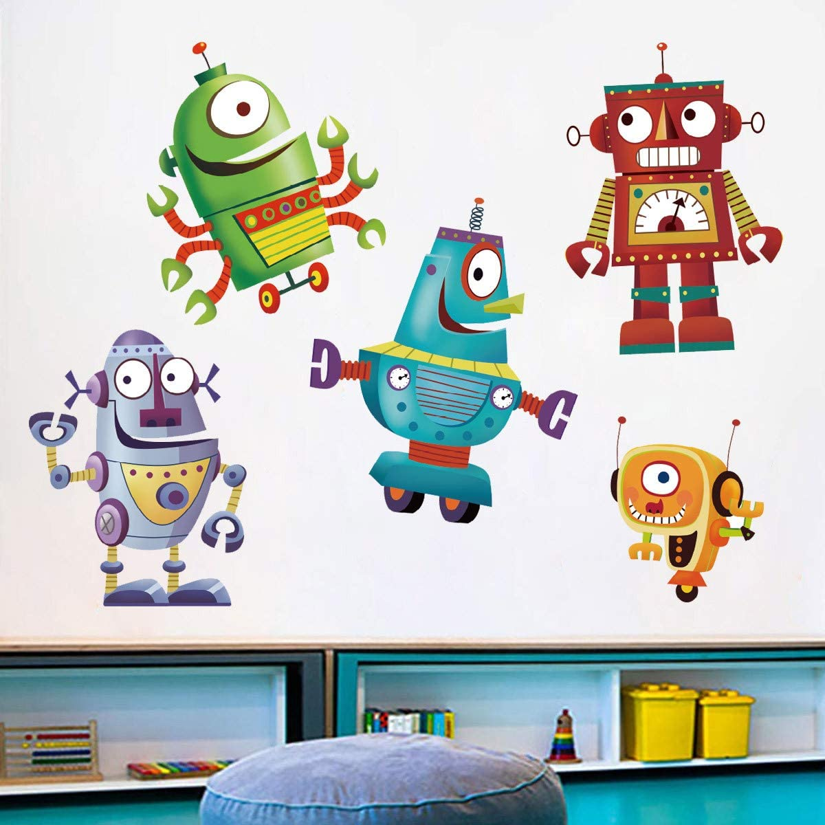 ufengke Cartoon Robot Wall Stickers DIY Removable Vinyl Wall Decals Art Decor for Kids Boys Nursery Bedroom Playroom