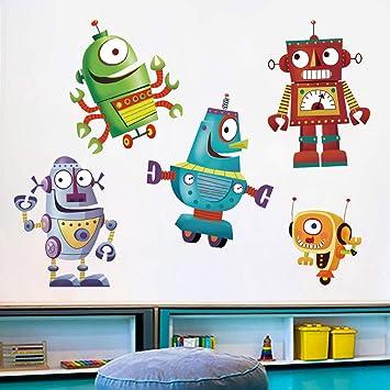 Personalised ROBOT Vinyle Sticker Wall Door Playroom Toy Box Wardrobe