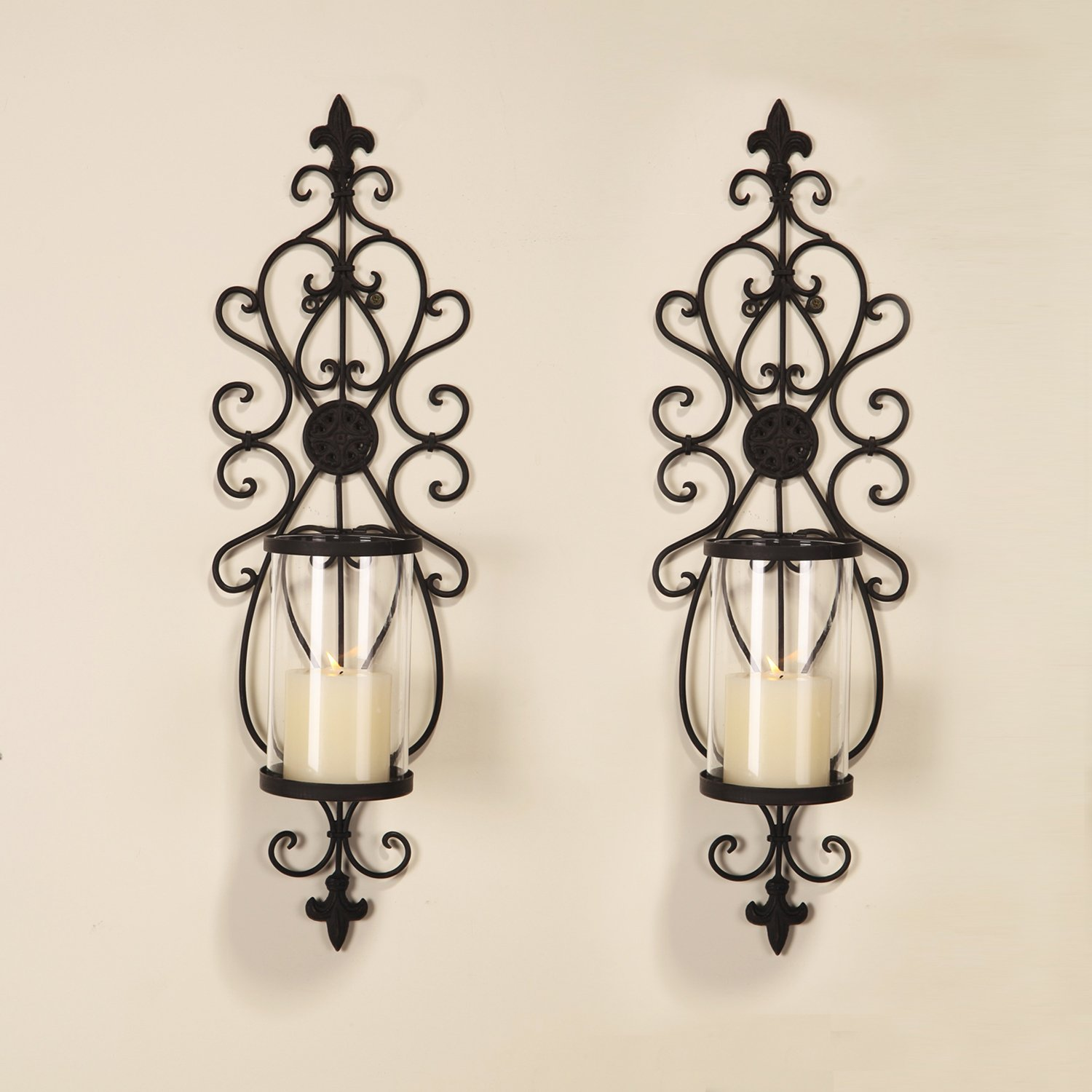 Joveco Decorative Wall Mount Candle Sconces Holders Set of 2 Antique JHD03