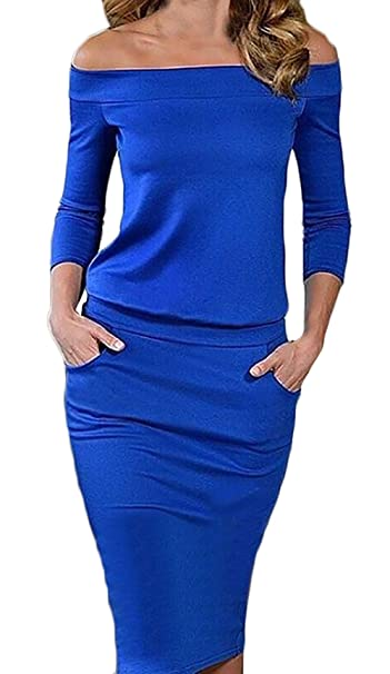 Vestidos Mujer Vestidos De Fiesta De Coctel Elegantes Primavera Moda 3/4 Manga Cuello Barco Slim Fit Color Solido Vestidos Fiesta Vestidos Medium Largos ...