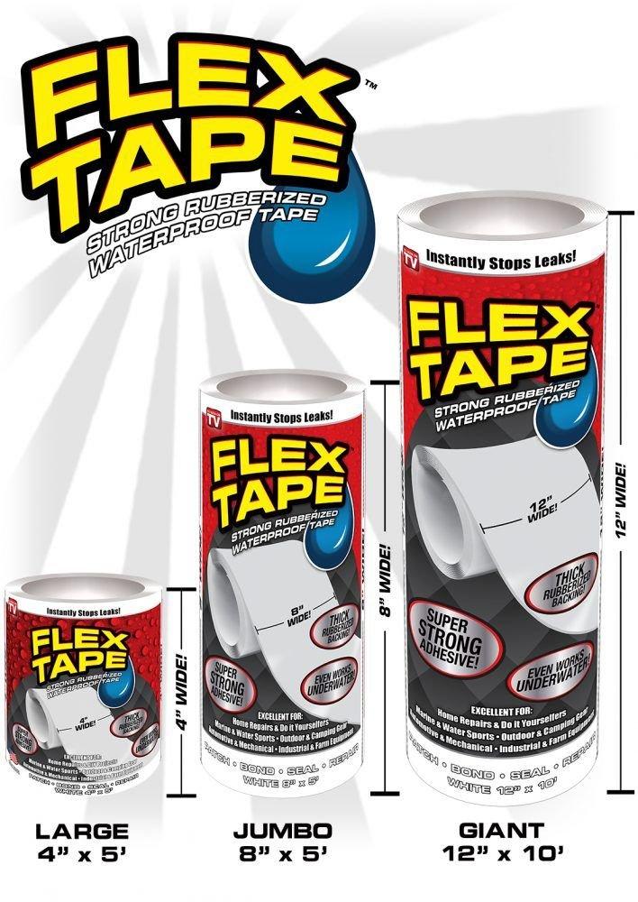 Flex Tape Rubberized Waterproof Tape, 12'' x 10', White (2 Pack)