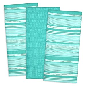 DII Cotton Pre Shrunk Urban Stripe Dish Towels, 20x30 Set of 3, Modern Design Kitchen Towels for Cooking and Baking-Aqua
